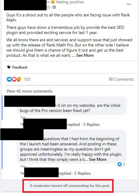 disabled comments in facebook groups