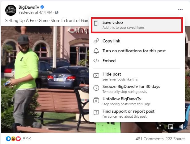 saved Facebook Video settings