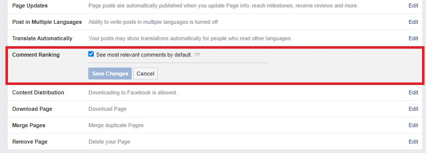 settings for Facebook Comment Ranking