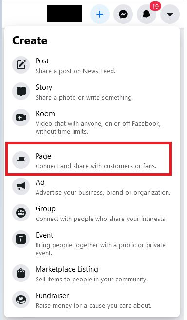 Settings To Create Facebook Page