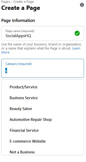 choose category for Facebook Page