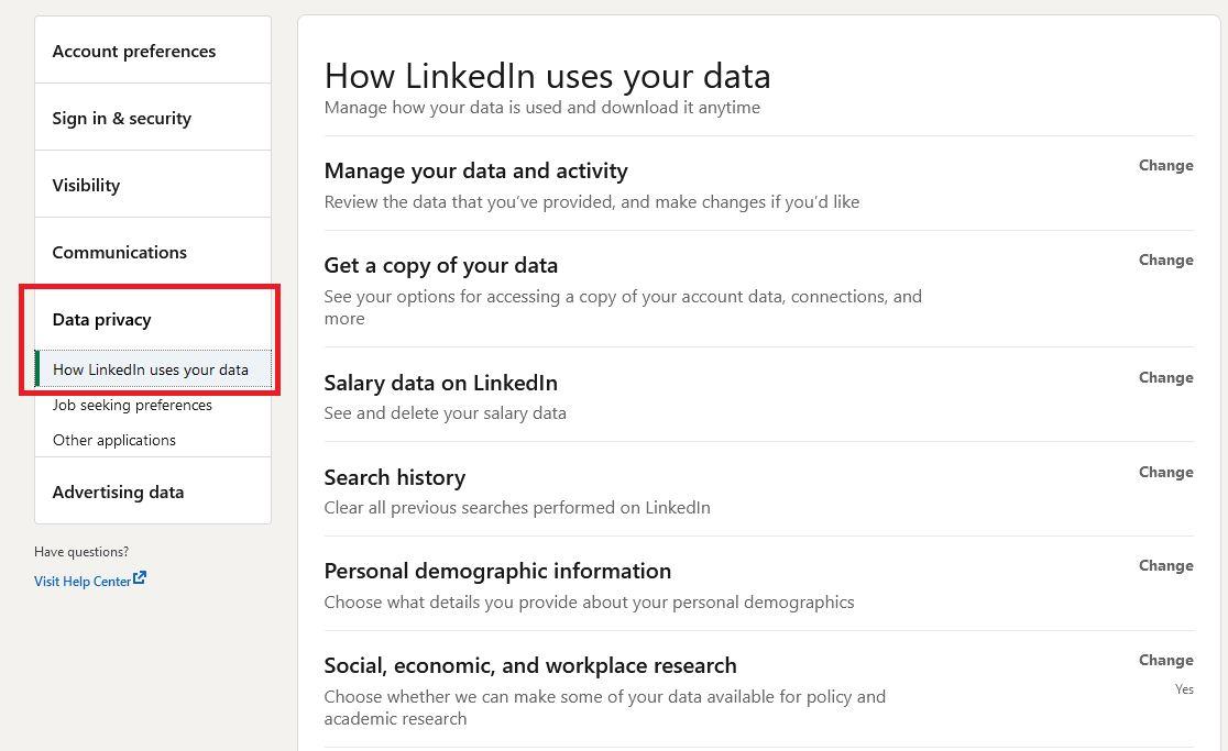 settings on LinkedIn account data privacy