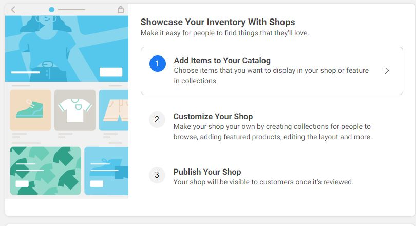 settings to add items to Facebook catalog