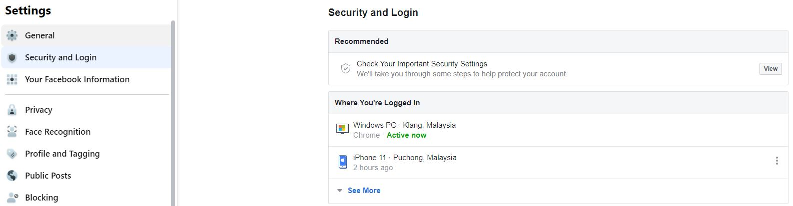 Facebook Setting For Where You Logged In