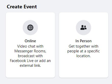 select Facebook event options